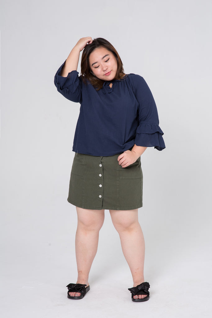 Button Front Denim Skirt In Olive