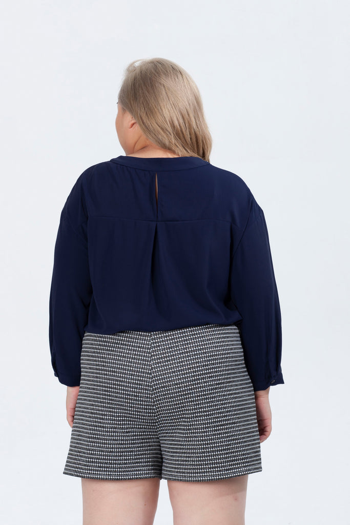 Blue Button Front Blouses