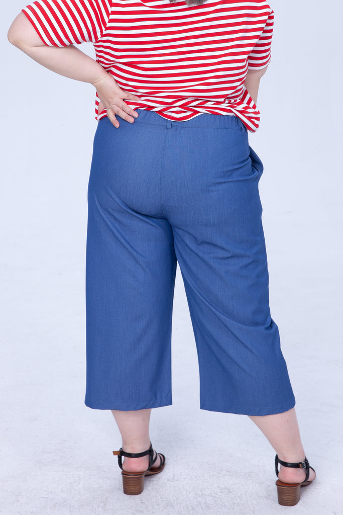 Wide-leg Trousers In Denim Blue