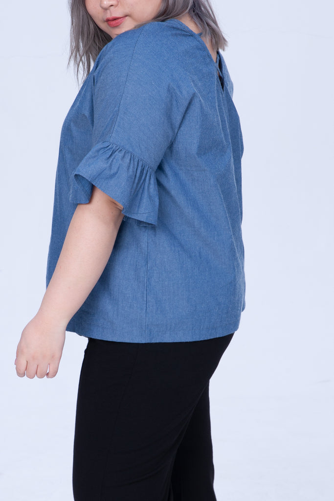 Denim Shirt Strap Back With Ruffle Sleeves