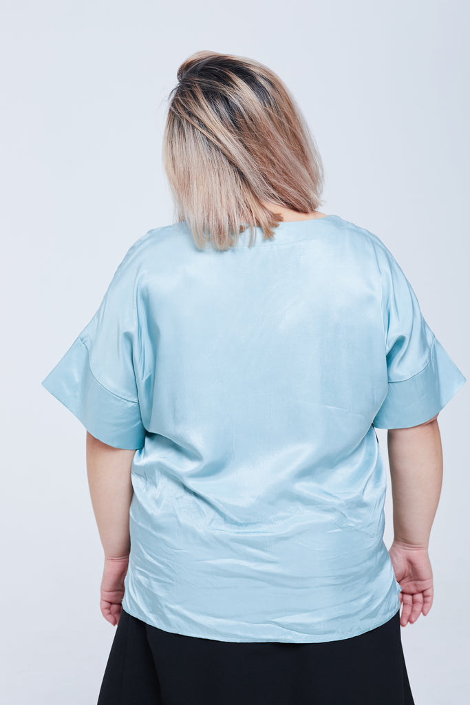 Satin V-neck Top In Blue
