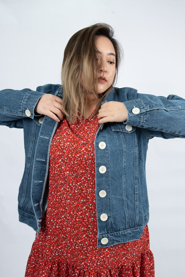 Topstitched Denim Jacket In Blue