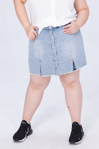 Button Front Denim Culotte Skirt
