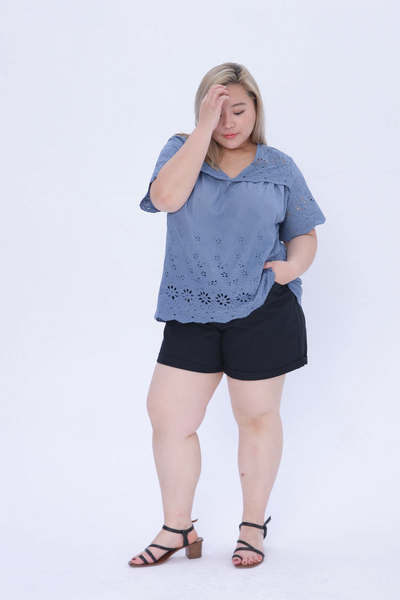 Broderie Shirt In Blue
