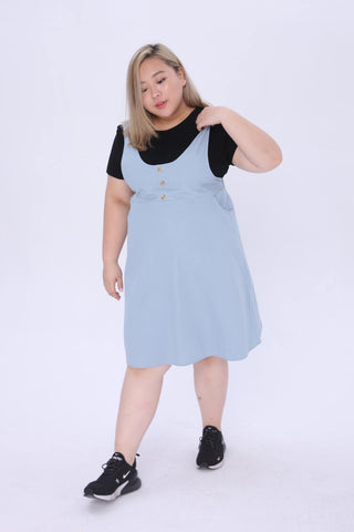 Button front Cami Dress In Blue