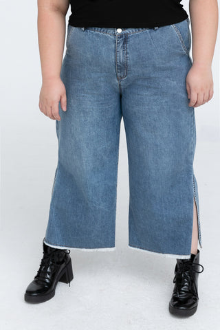 Wide Leg Jeans In Mid-blue wash