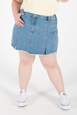 Denim Culotte Skirt In Mid Blue