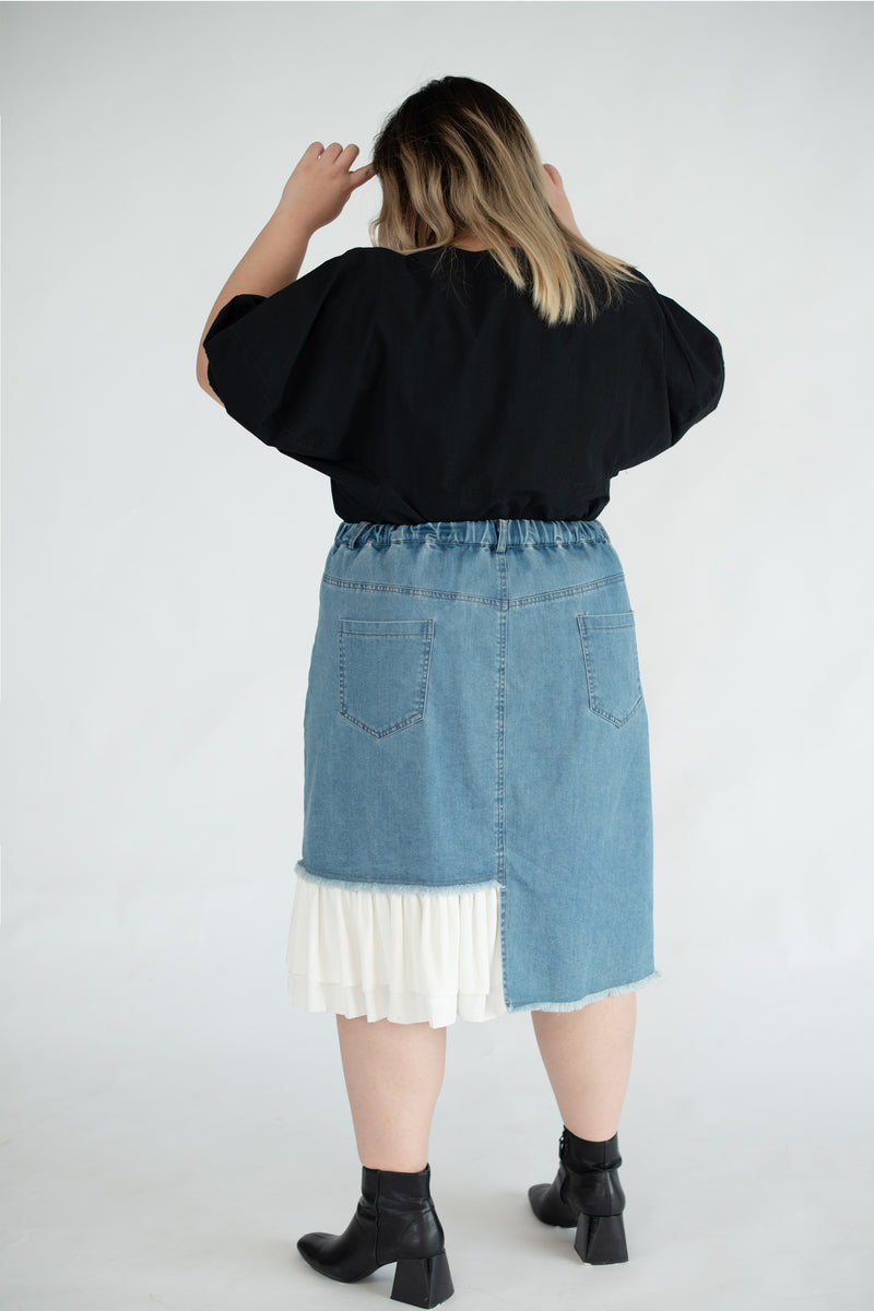 Denim Skirt With Chiffon Ruffle Hem