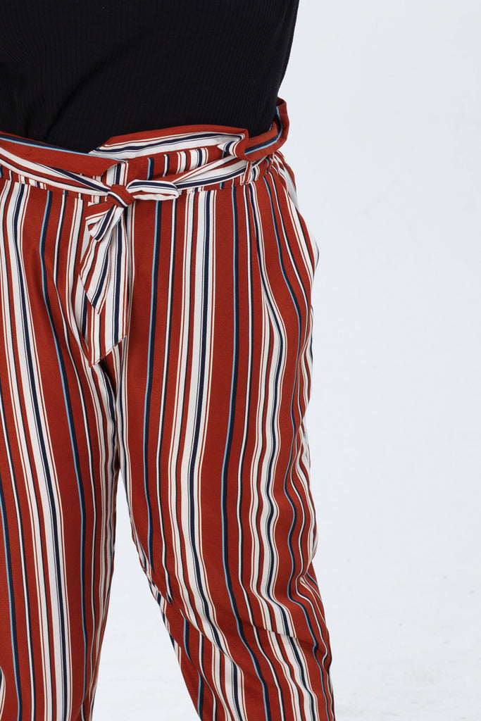 Tie Waist Tapered Trouser In Brown Stripe Print