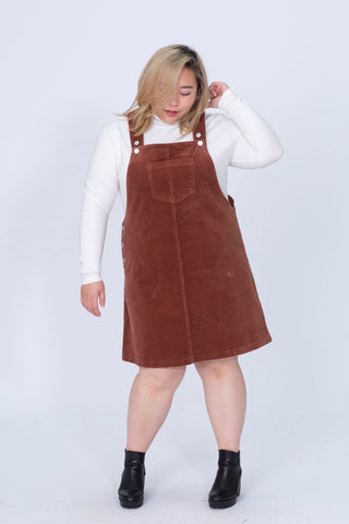 Cord Dungaree Dress In Brown