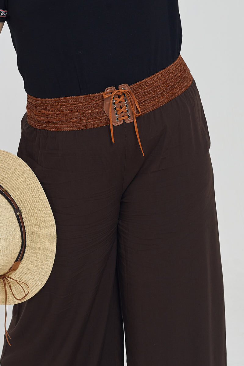 Wid-Leg Trousers In Brown With Folk Belt