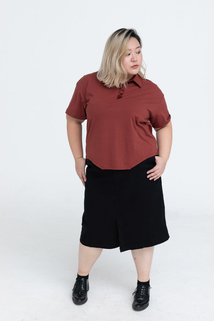 Polo Top In Brown