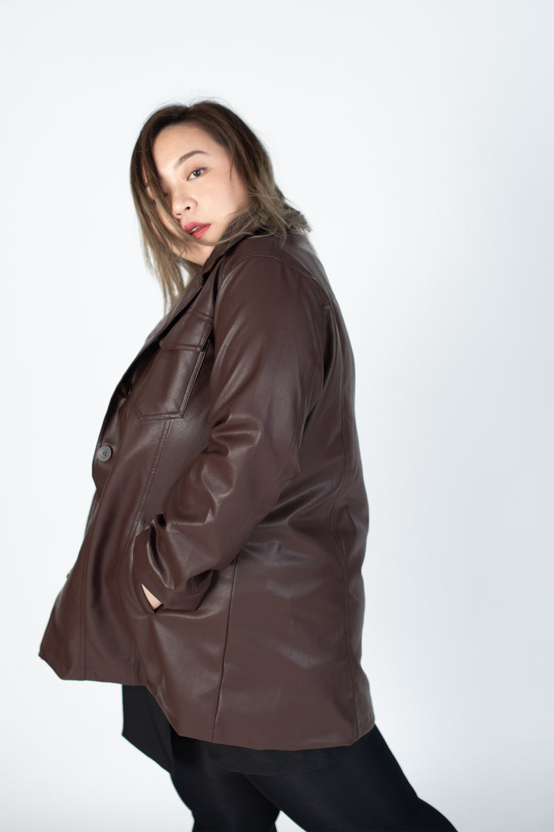 PU Leather Jacket In Brown