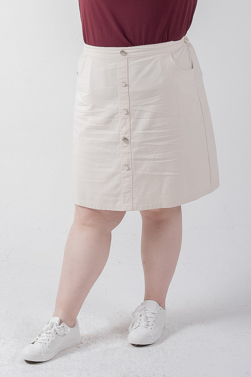 Button Front Skirt In Cream