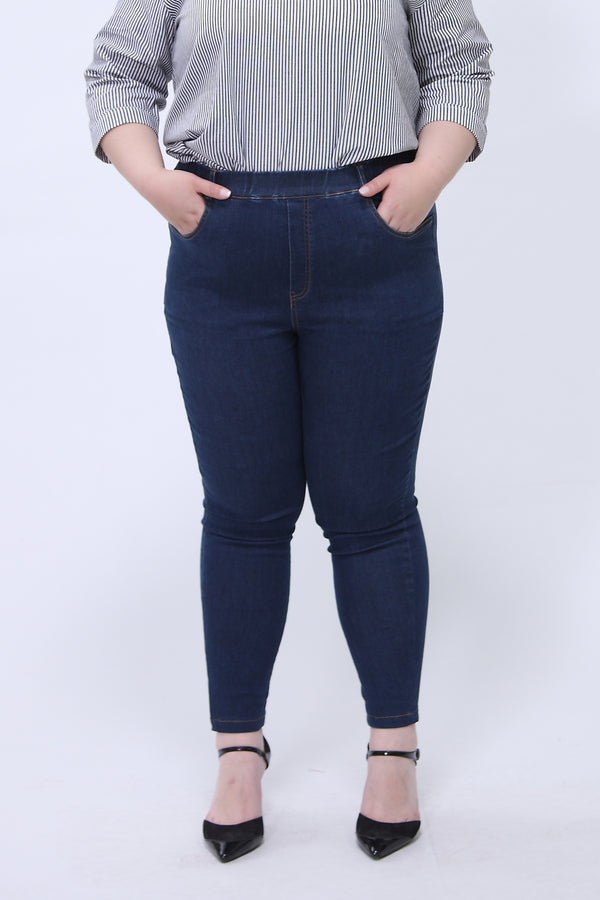 Skinny Jeggings With Elasticated Waist in Dark Blue