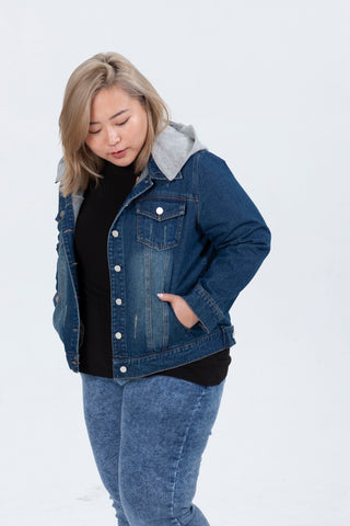 Denim Jacket With Jersey Hood In Dark Wash
