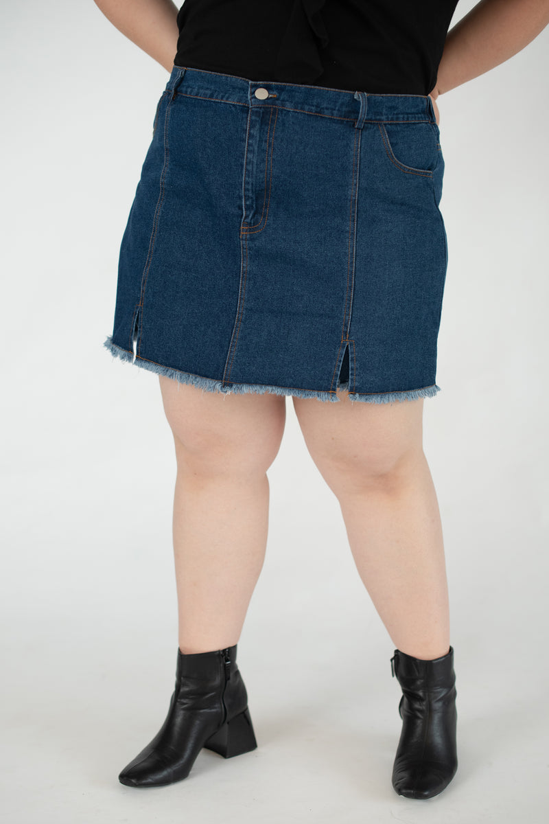 Denim Culotte Skirt In Blue