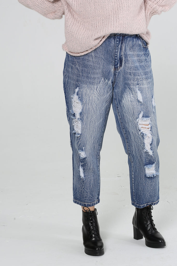 High Waist Straight Leg Jeans With Ripped Details