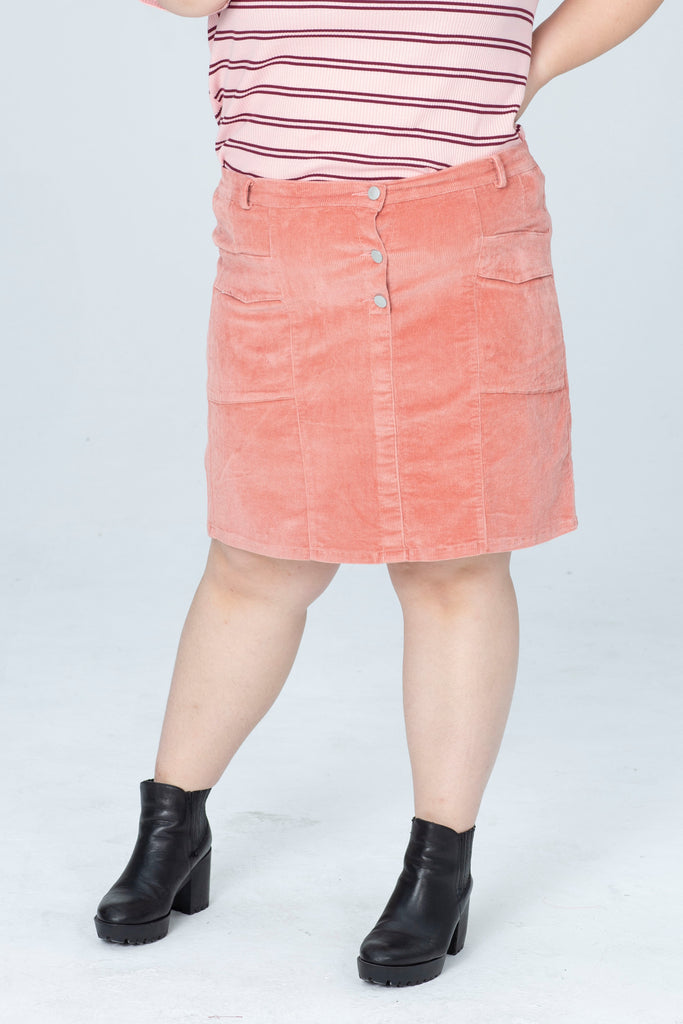 Cord Button Skirt In Dusty Pink