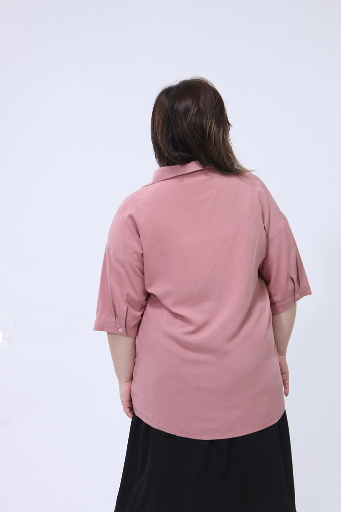 Dusty Pink V-Neck Blouses