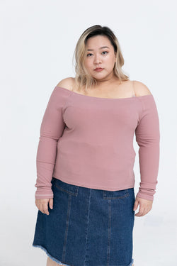 Bardot Top In Rib In Dusty Pink