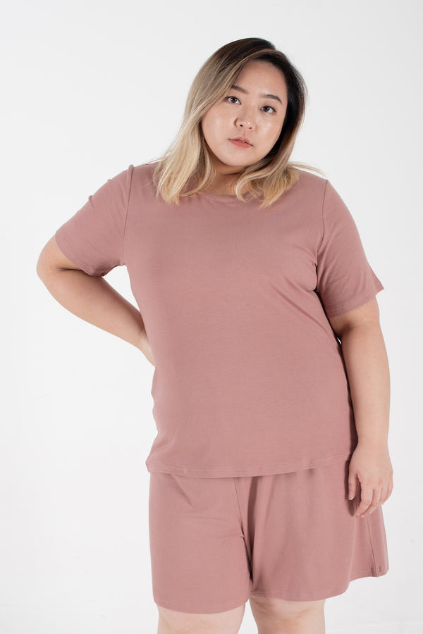 Ribbed Round Neck T-Shirt In Dusty Pink