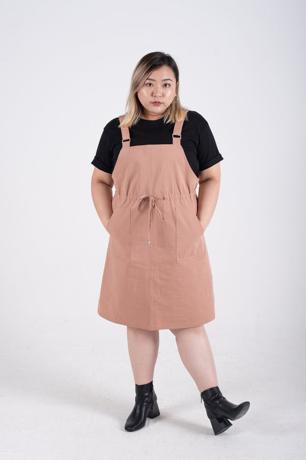 Dungaree Dress In Dusty Pink
