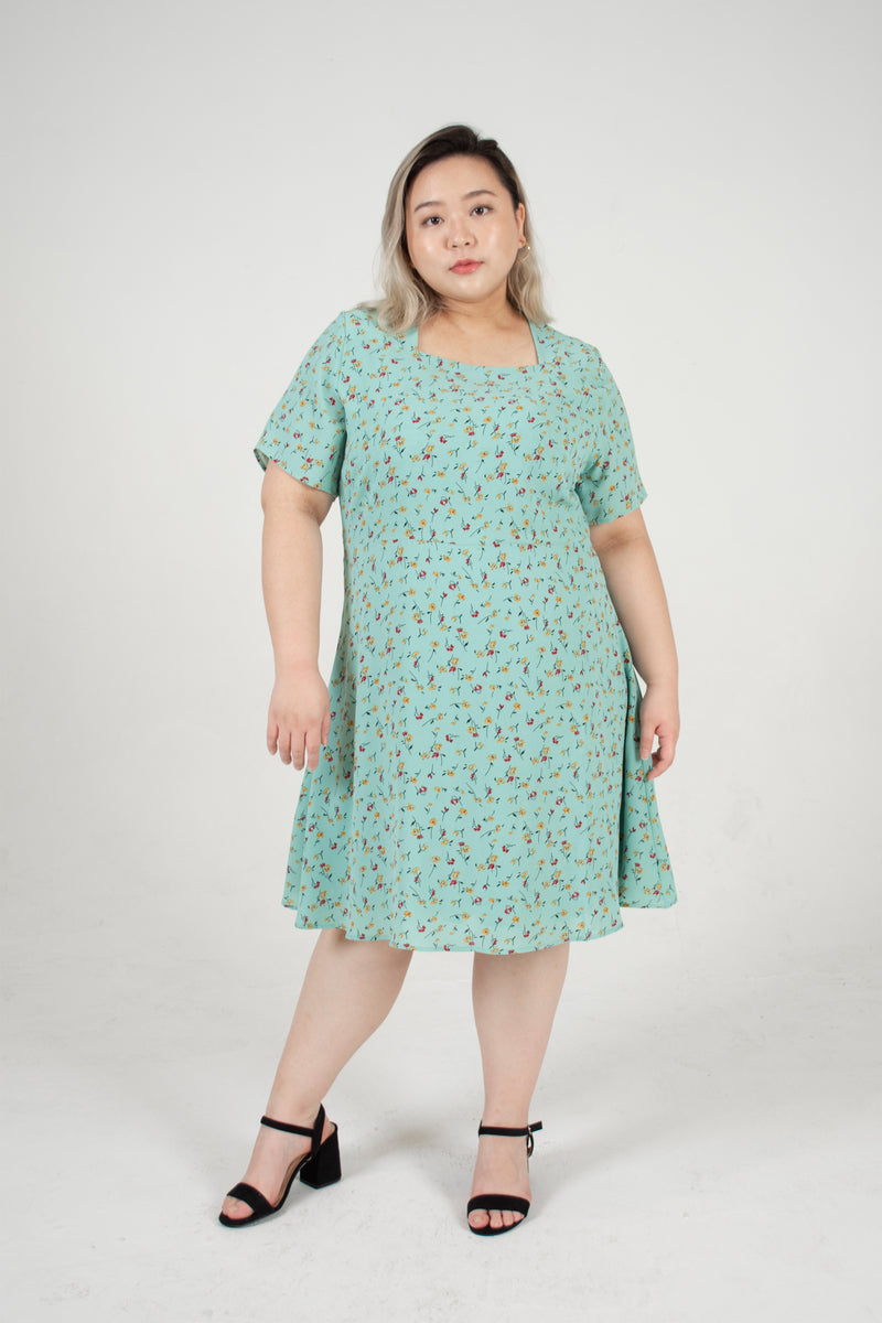 Square Neck Floral Dress In Mint