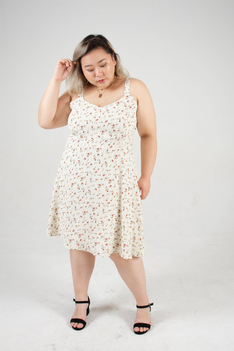 Floral Cami Dress In Cream