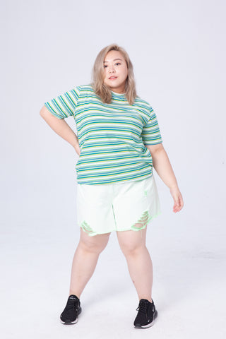 Striped Print T-Shirt In Green