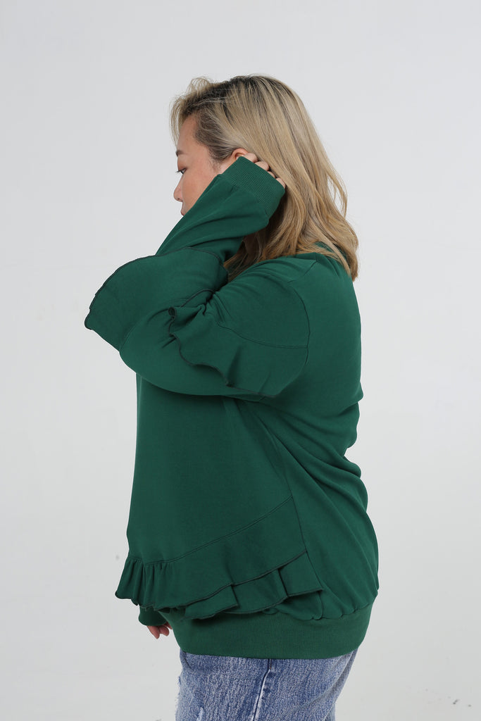 Sweatshirt In Green With Ruffle Details