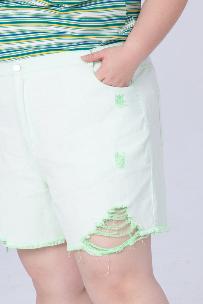 Denim Shorts In Neon Green