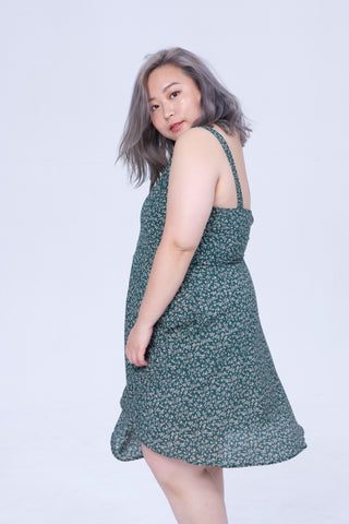 Cami Dress In Green Floral Print
