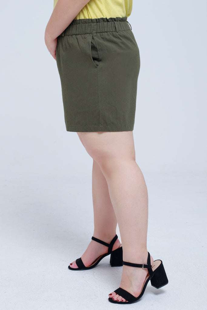 Short In Green With Shirred Waist