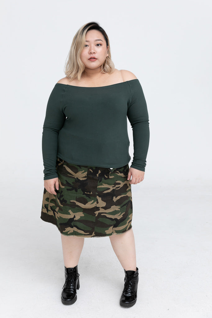 Bardot Top In Rib In Green