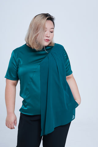 Round Neck Satin Top In Green With Chiffon Details