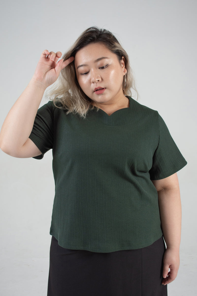 Sweetheart Neckline Ribbed Top In Green