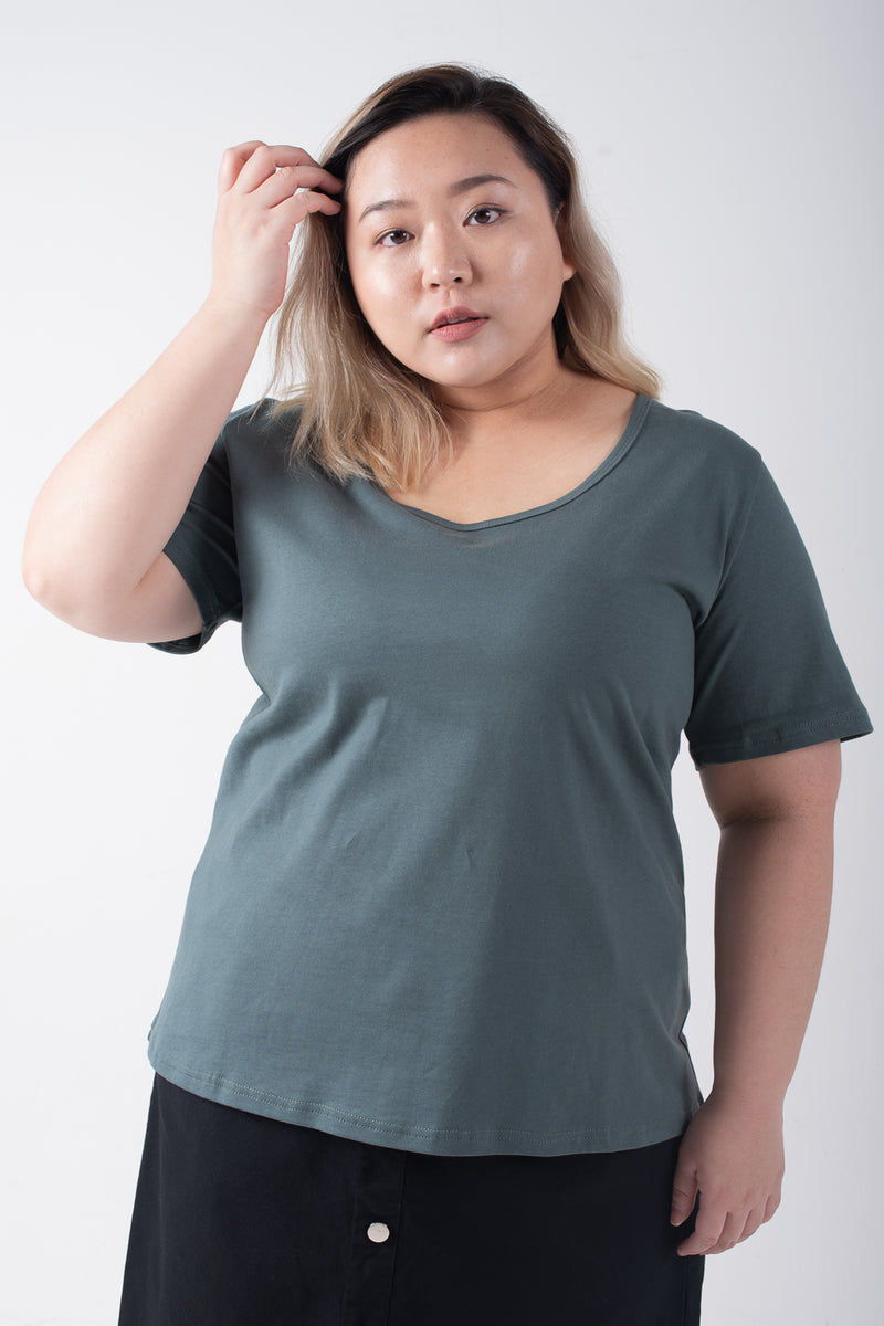 U-Neck Top In Green