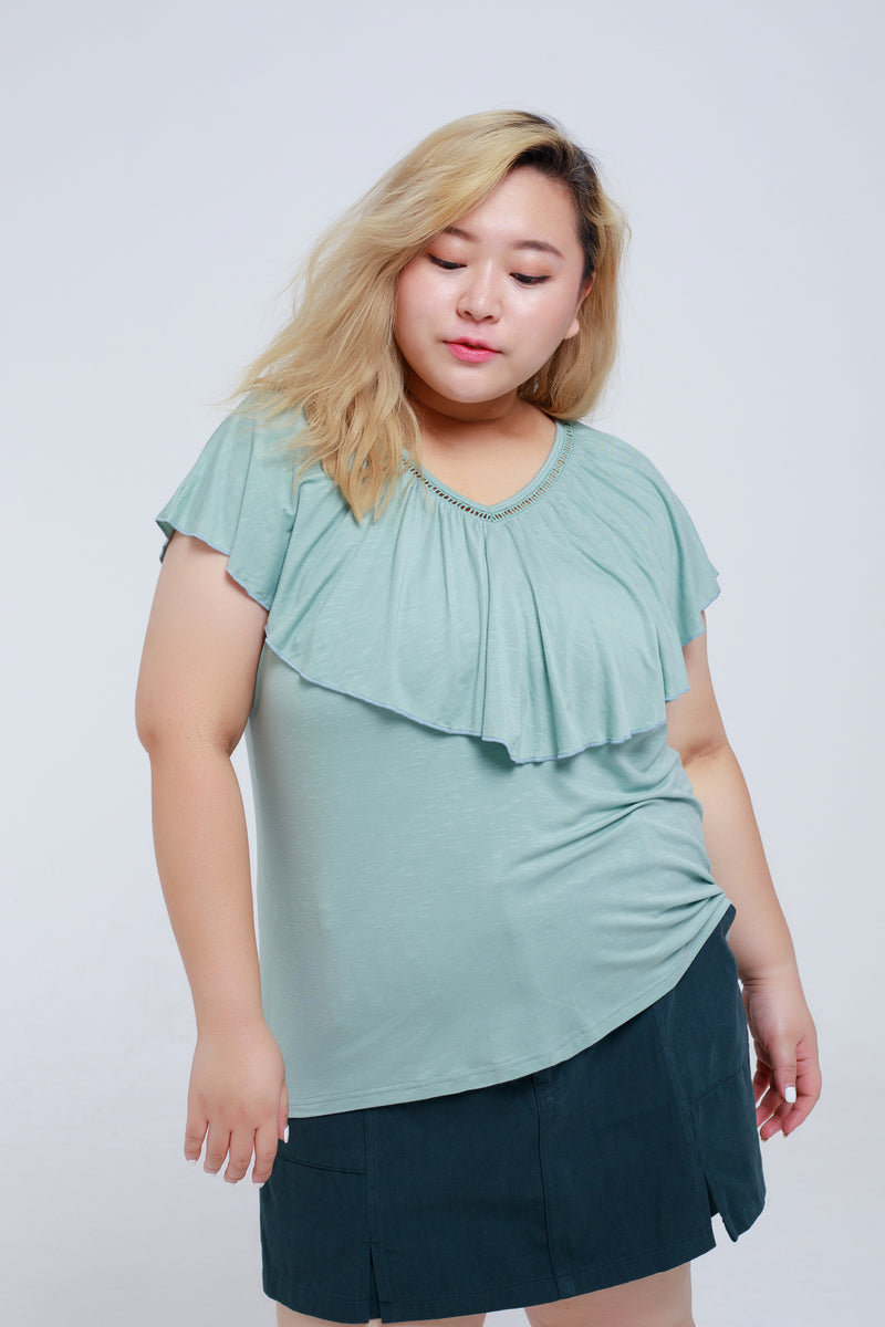 Ruffle Sleeves Top With Strap Back Details In Dusty Green
