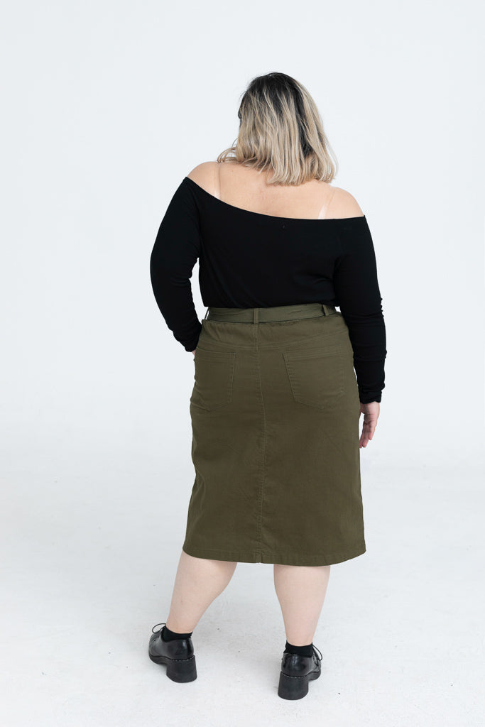 Midi Skirt In Olive (With Belt)