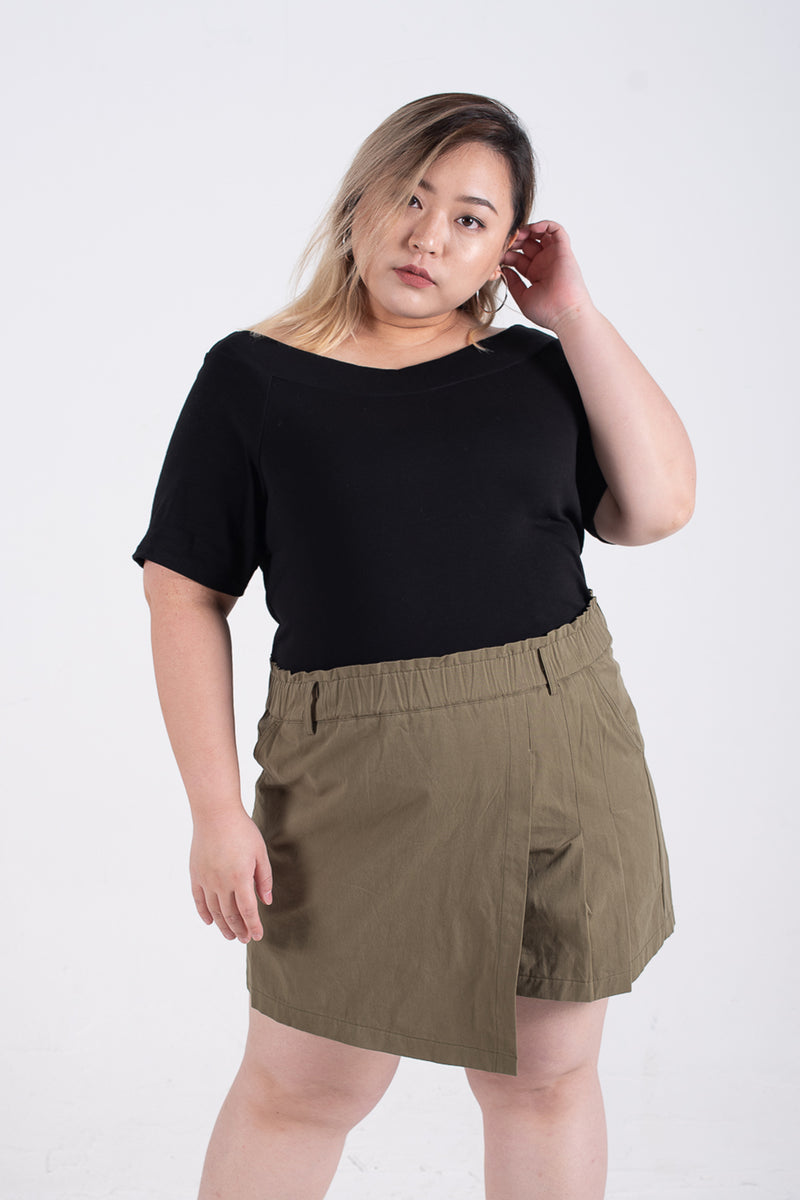 Wrap Culotte Skirt In Olive