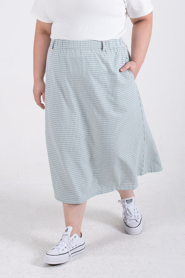 Check Print Maxi Skirt In Green