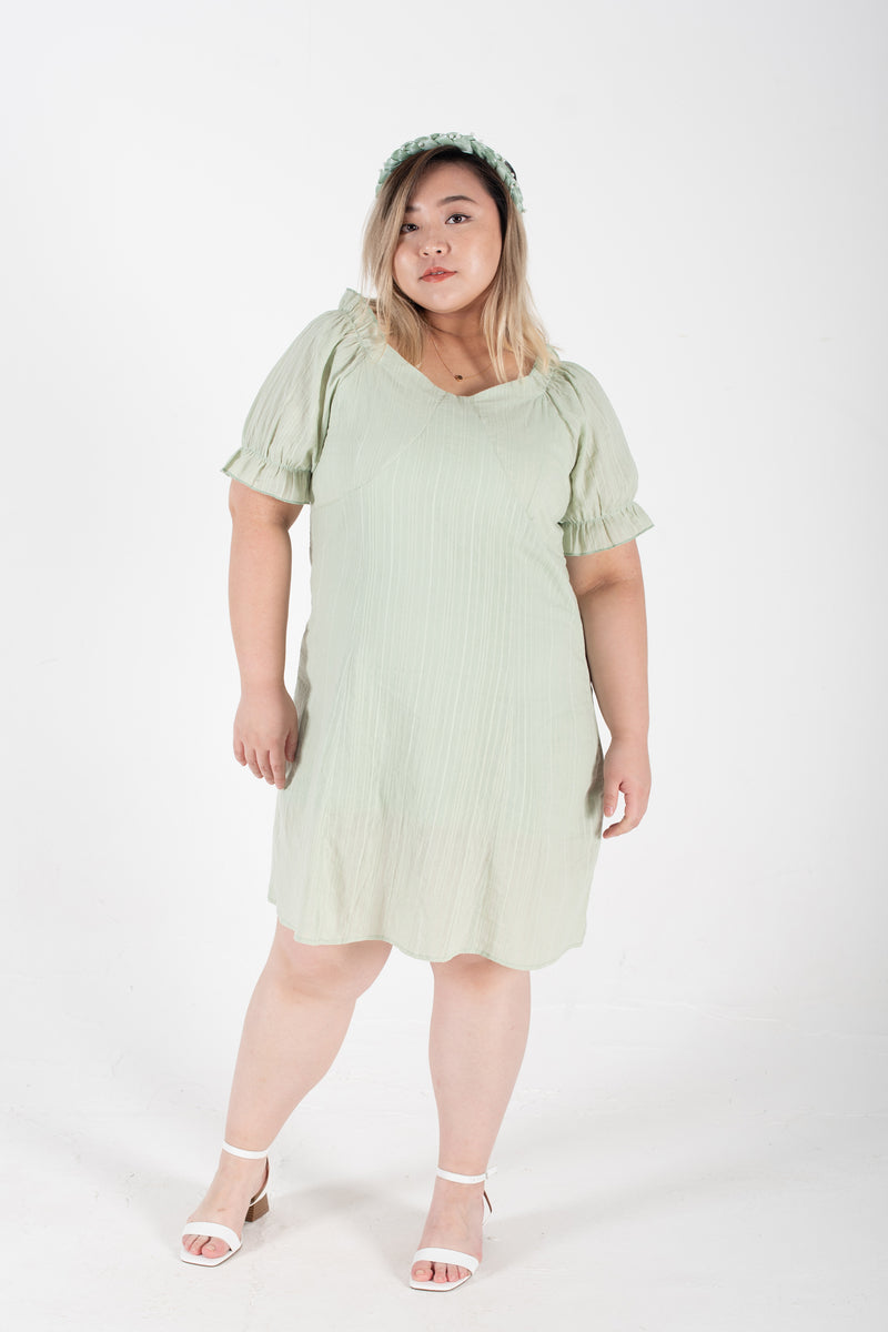 Square Neck Mini Dress in Mint