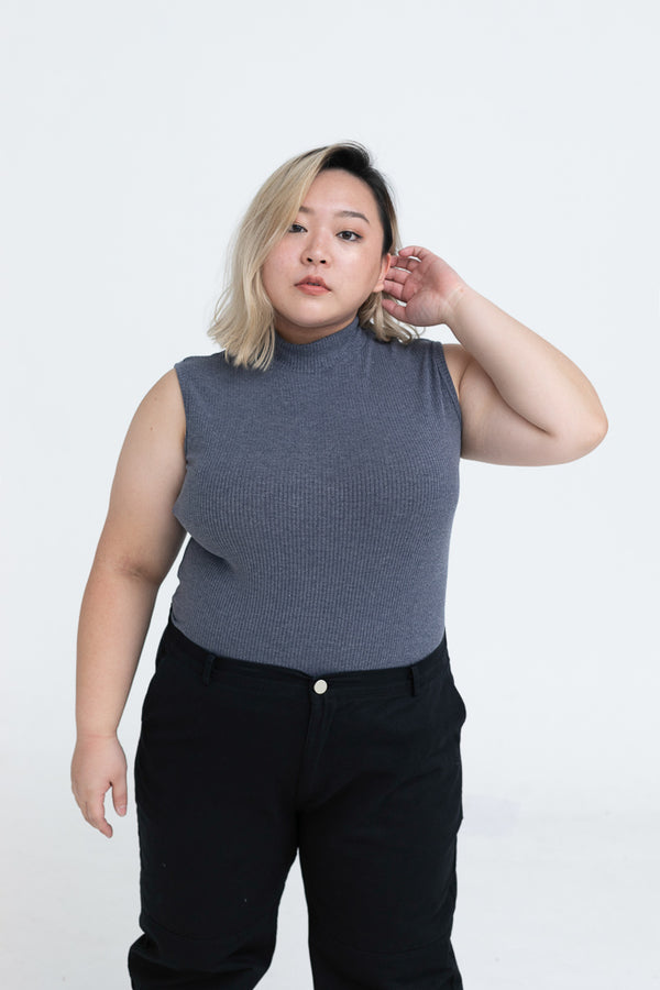 High Neck Vest Top In Rib In Grey