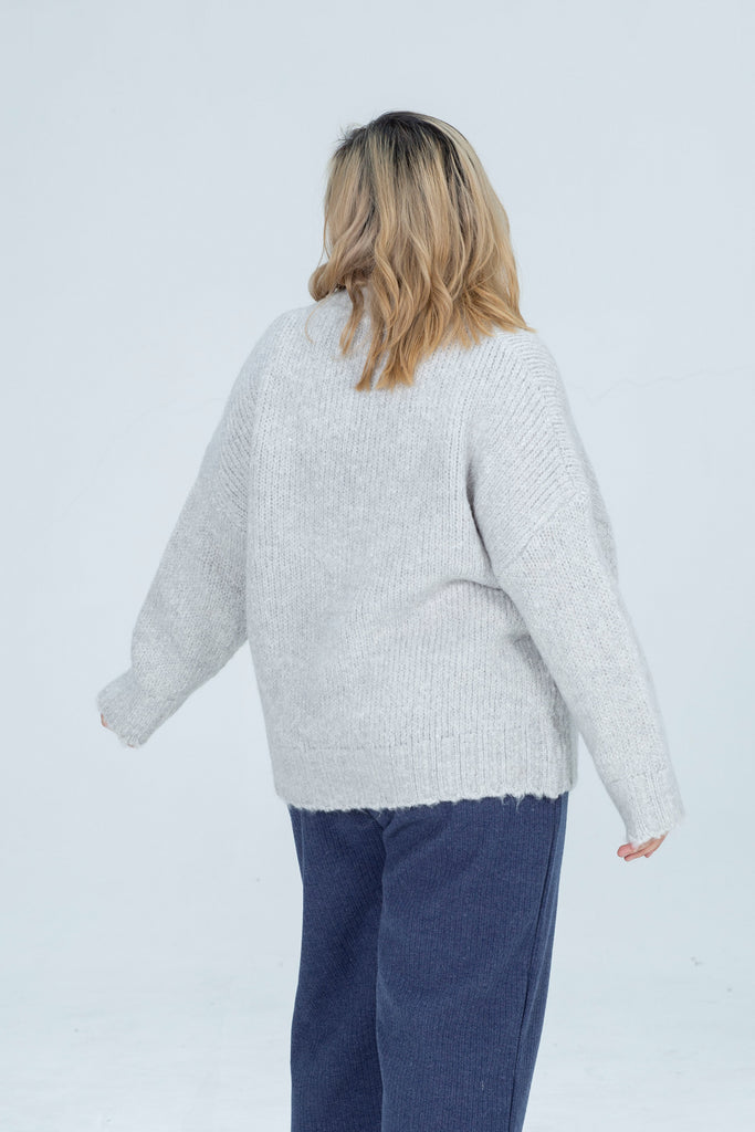 Oversized Knit Front Pocket In Light Grey