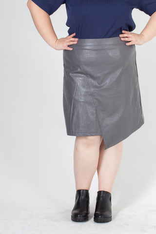 Grey Wrap Skirt Pants In PU Leather