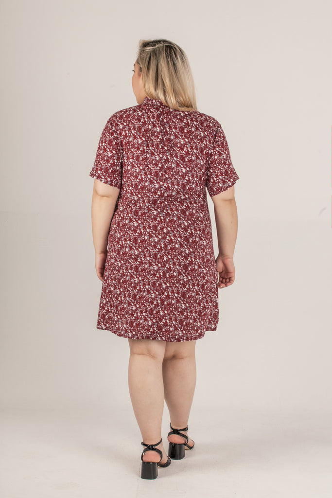 Red Floral Pattern One Piece Dress