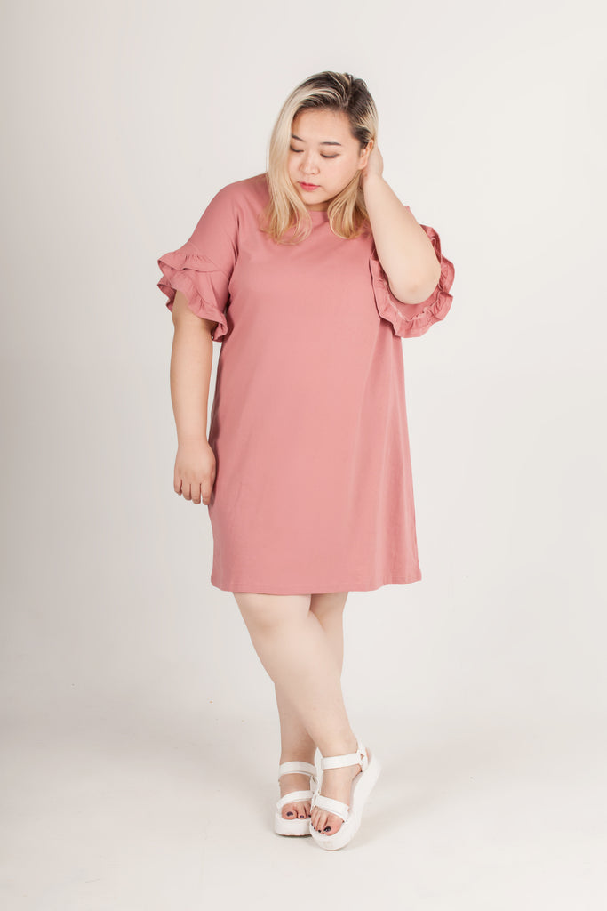 Pink with Ruffle Sleeve One Piece Dress