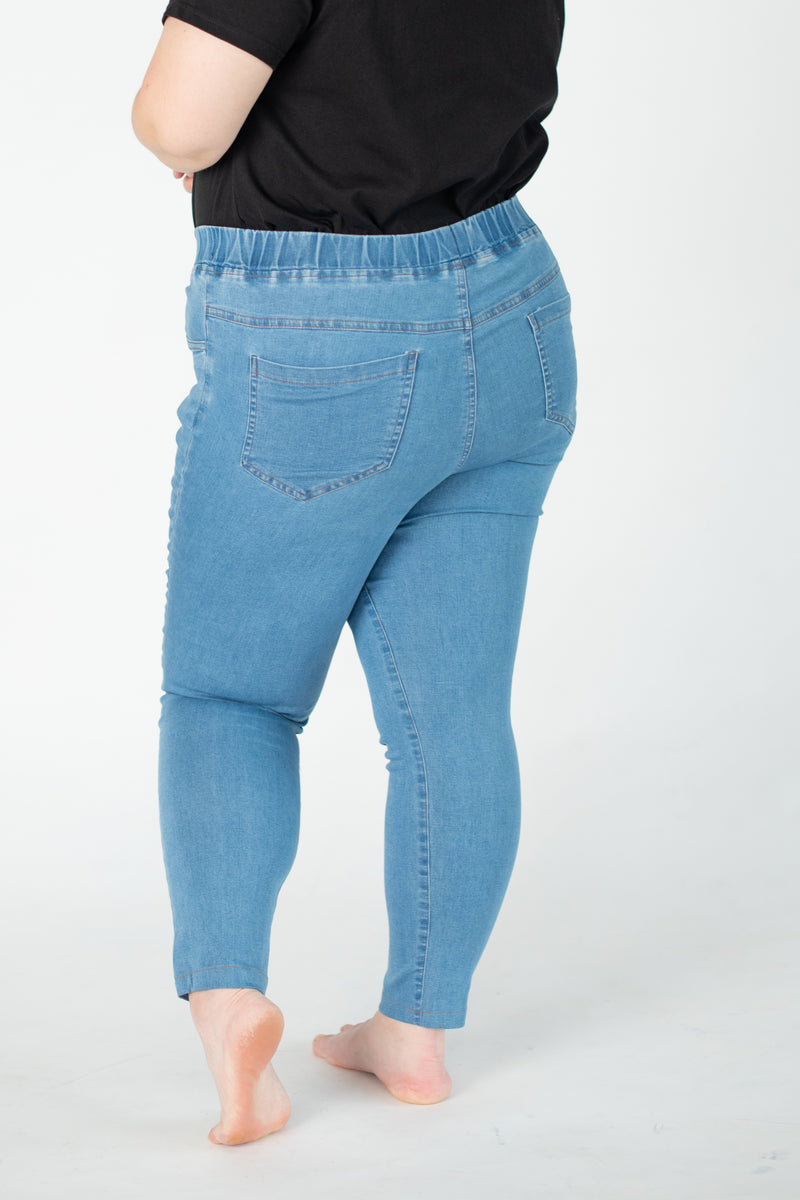 Skinny Jeggings With Elasticated Waist In Light Blue