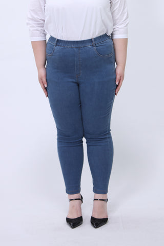 Skinny Jeggings With Elasticated Waist in Bright Blue
